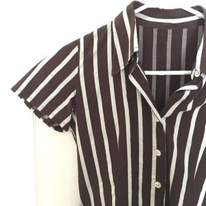 Tops - Brown stripe button up shirt