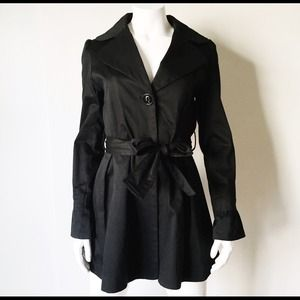 Black Trench Coat with Flared Cuffs and Belt