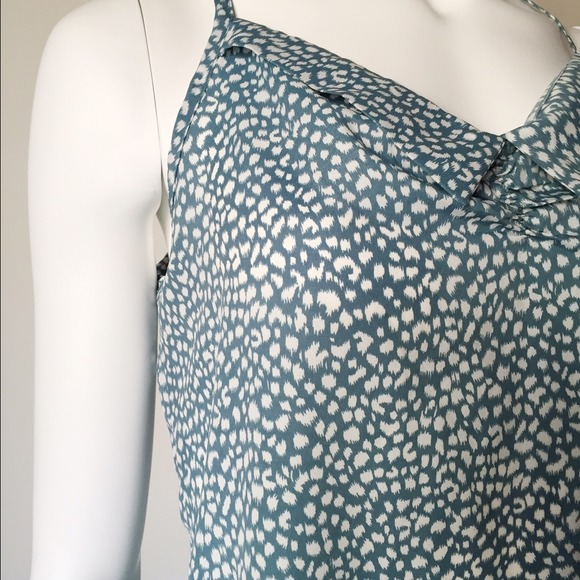 Tops - Polka Dot Collar Tank Top with a Tie in the Back