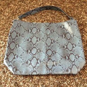Large bag in blue faux snake skin
