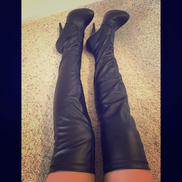 58% off ALDO Boots - Black Leather High Heel Over the Knee Boots ...