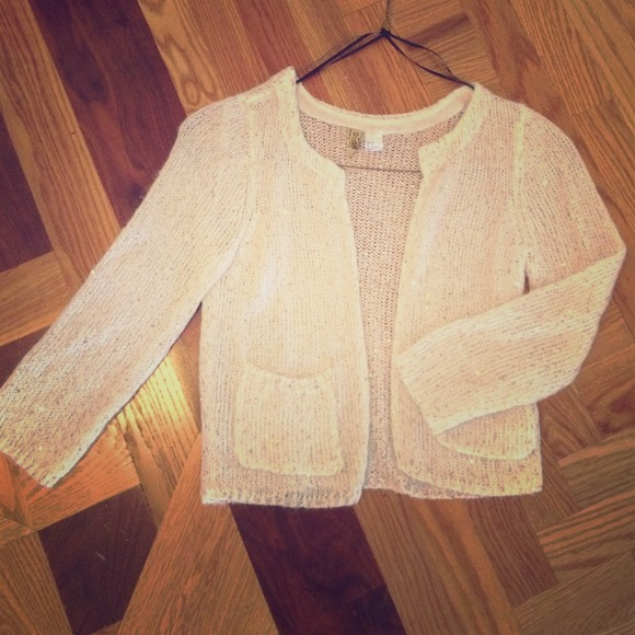 64% off H&M Sweaters - H&M ivory gold sequin cardigan sweater from ...