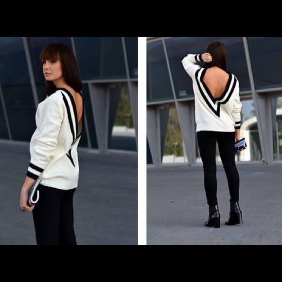 CHANEL - White V Neck Long Sleeve Loose Boyfriend Sweater from ...