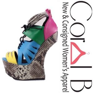 Shoes - Colorblock Snakeskin Wedges