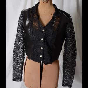 Lace and pleather jacket