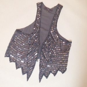 Forever 21 Outerwear - Gray Sequin Vest