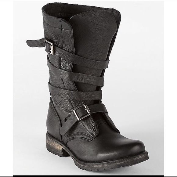 23313814201 Steve Madden Banddit Boots Black Leather Buckle 10.  M 546c2bff0b1dfc72314095dd