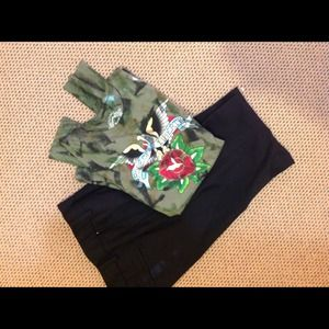Green and black camouflage print thermal polo