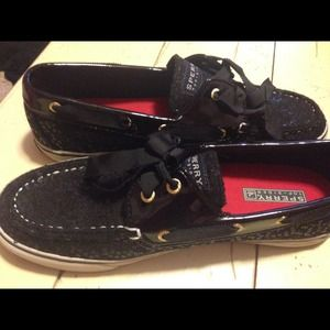 Black Sequined Sperrys: Ribbon lacing
