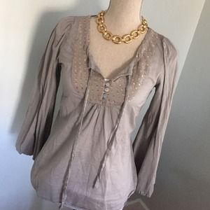 BCBG MaxAzria putty blouse