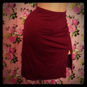 Betsey Johnson skirt burgundy pencil stretch slip