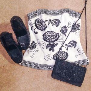 Black & White Floral Corset