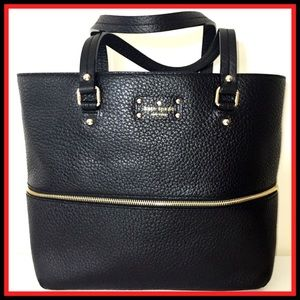 NWT KATE SPADE Expandable Black Leather Tote