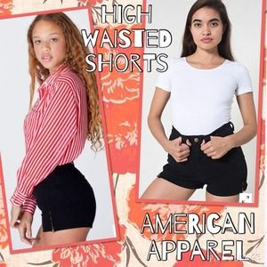 American Apparel Black Zipper Shorts