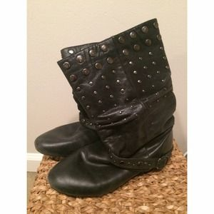 Aldo Black Leather Studded Boots