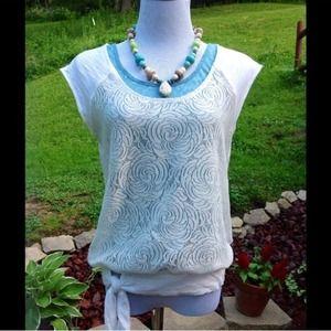 Anthropologie Sheer Knit Top Sz M