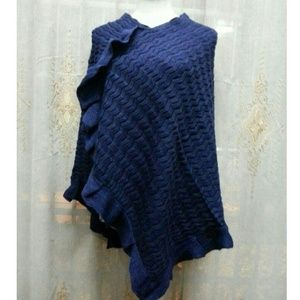 Sweaters - Navy Knitted Poncho