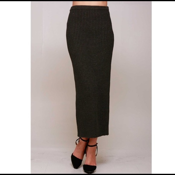 80% off Dresses & Skirts - grey charcoal ribbed pocket maxi skirt ...