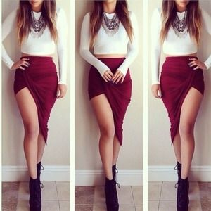 NEW Gorgeous Burgundy Wine Red Draped Maxi Skirt💋