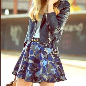 Zara full circle high waisted camo print skirt