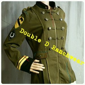 Double D Ranch Military Jacket  Green Horse Small