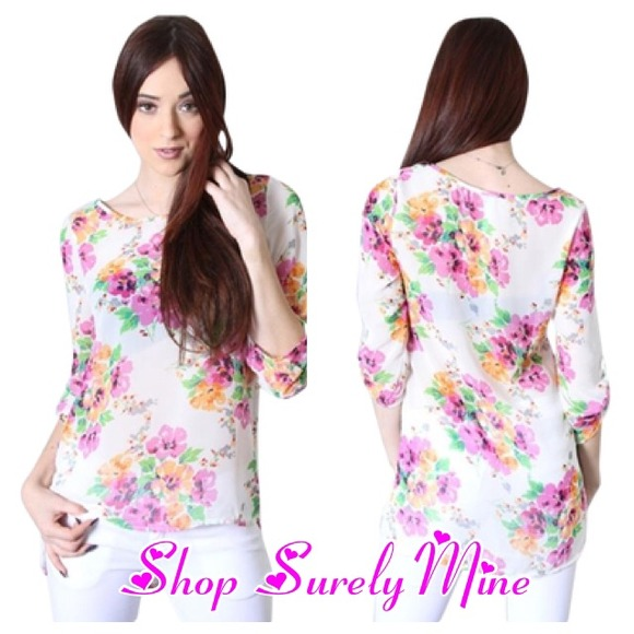 a22fadc888 Floral blouse hi low hem. NWT. Surelymine