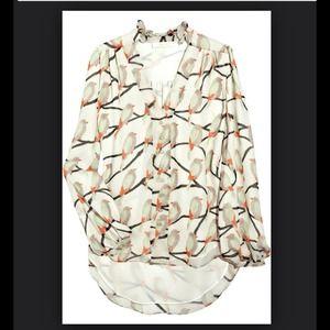 Erin Fetherstin Dylan Printed Silk Chiffon Blouse