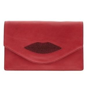 L'Wren Scott Handbags - L'Wren Scott Red Beaded Lips Clutch