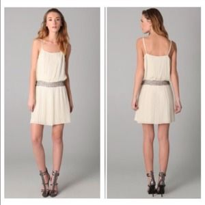 Parker pleated dress beaded cream shopbop