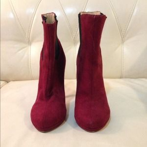 Red suede booties size 6