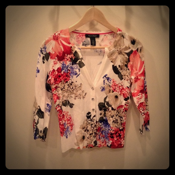 80% off White House Black Market Sweaters - WHBM Floral Cardigan ...