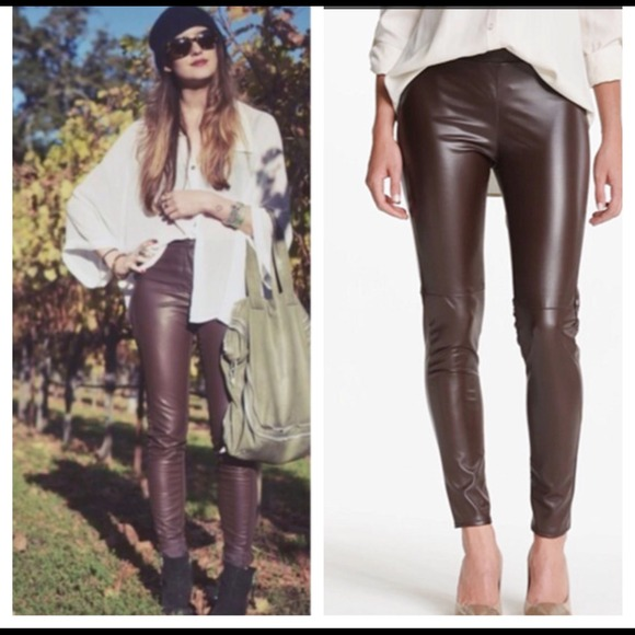 unequal in performance detailed pictures exclusive deals Brown faux leather leggings