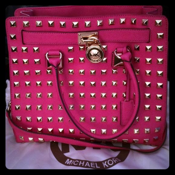 bfe66a92aee3 michael kors pink studded hamilton elisa backpack black - Marwood ...