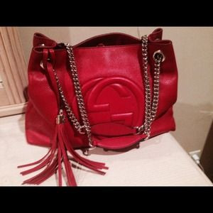 Gucci Soho Leather Shoulder Bag Red 76