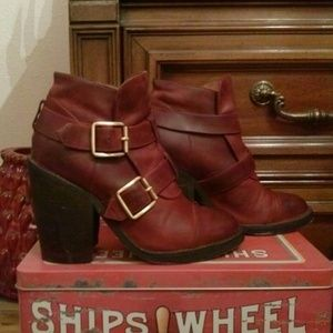 Jeffrey Campbell Shoes - SALE Jeffrey Campbell Burgundy Buckled Booties