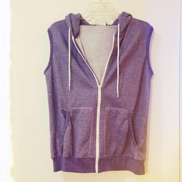 7e59266da3eeb BDG Outerwear - Heather Purple Sleeveless Hoodie BDG Unisex