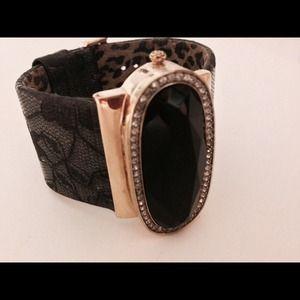 Betsey Johnson gold watch lace rhinestone timekeep