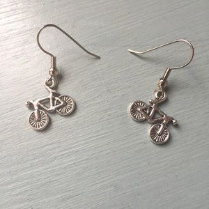 Jewelry - Silver tone bicycle charm earrings