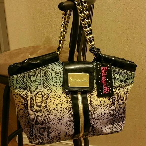 77% off Betsey Johnson Handbags - Betseyville snakeskin hobo bag ...