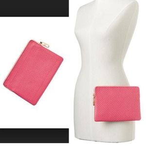 GAP Pink Dot Leather Clutch