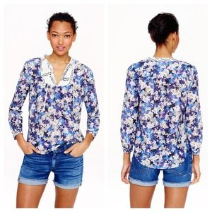 J Crew PEASANT TOP IN NIGHTGARDEN FLORAL Sz 10