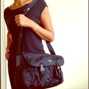 prada black fringe bag - 55% off Prada Handbags - ?? Prada Black Crossbody Messenger Bag ...