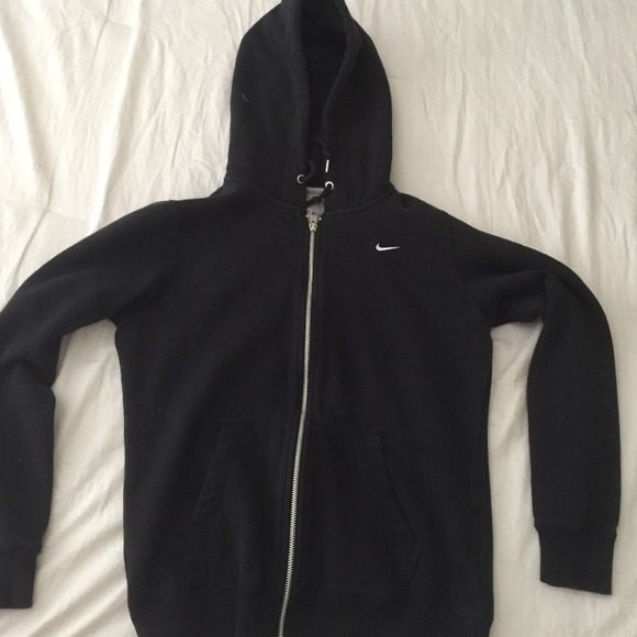 63% off Nike Sweaters - Women's Nike Black Zip-up Hoodie Size ...