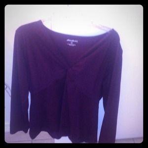 Dark Purple 3/4 sleeve blouse with knot
