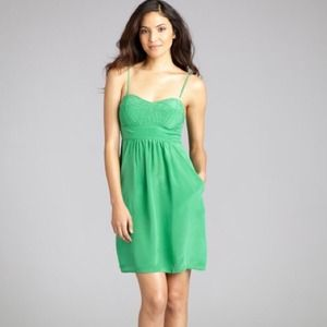 Kelly green silk bustier dress NWT!