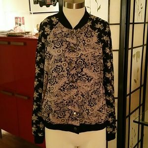 Free People soft silk like Bomber jacket Floral S
