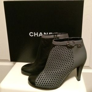 Authentic CHANEL 2 Tones Grey Black Ankle Boots