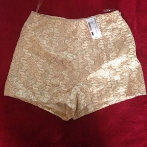Sparkly glitter gold shorts