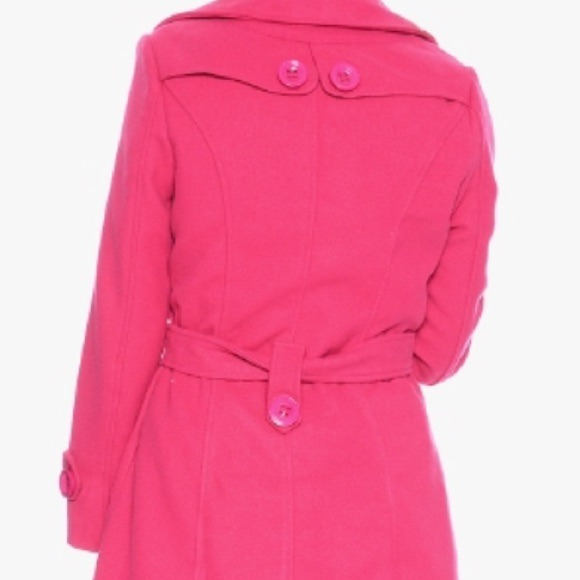 73% off Outerwear - Hot pink trench pea coat wool winter girly ...