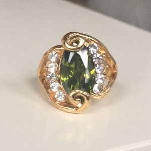 Green Marquise Crystal Ring